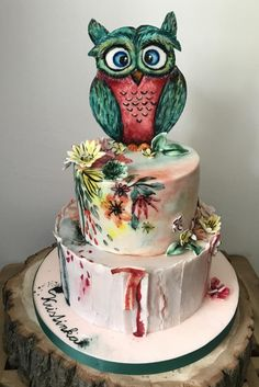 Painted Owl Cake by Art Bakin