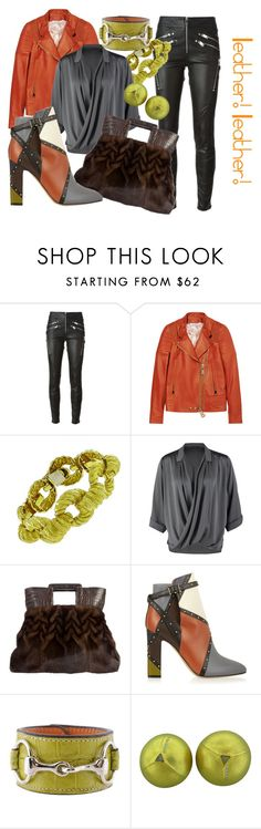 """""""Leather! Leather!"""" by honey18rdm ❤ liked on Polyvore featuring Diesel, Givenchy, Repeat, Nancy Gonzalez, Valentino and Rebecca Ray Designs"""