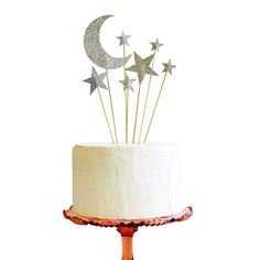 celestial moon and star Metallic wedding Cake Toppers