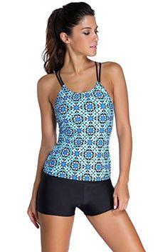 0da450d2b1472 Cfanny Women s Flower Pattern Double Straps Top Sports Tankini Swimsuit   18.99 Tankini Shorty