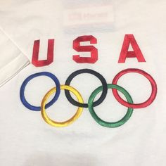 46c0240a8da USA Olympics T-Shirt Embroidered 5 Rings Short Sleeve Size XL