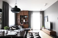〚 Designing modern apartment on a budget: cool flat in Poland by Raka Architekci 〛 ◾ Photos ◾Ideas◾ Design Interior Styling, Interior Design, Black And White Interior, Inside Home, Scandinavian Home, Design Case, Decorating Small Spaces, Small Space Living, Mid Century Modern Furniture