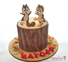 Chip & Dale Cake-Handcrafted Toppers & amazing Bark effect on Tree Stump by Deliciously Yummy Sydney.