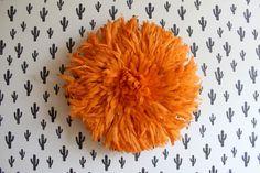20 inch Orange Juju Hat from Cameroon