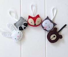 christmas ornaments - woodland creatures. Make your own felt animals to hang on your tree, make a garland or hang on your wall
