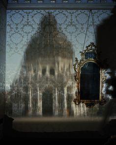 Blurry Upright Camera Obscura: Santa Maria della Salute with Scaffolding in Palazzo Bedroom, 2007