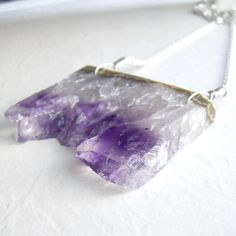 Long Amethyst Crystal Necklace Raw Gemstone Slice by cindylouwho2, $65.00