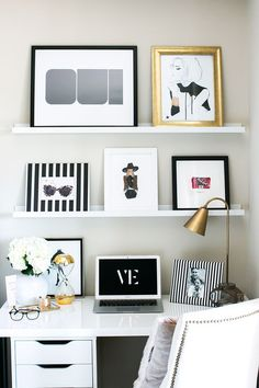 Untamed Petals Blog || White Black and Gold office || www.amandajudgeny.com/blog #office #blackandwhite #workspace