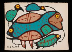 Norval Morrisseau Painting of a Fish and Birds 22 29 Good Condition - Seahawk Auctions Woodlands School, Dream Art, Canadian Artists, My Heritage, Global Art, First Nations, Art Lessons, Bowser, Printmaking