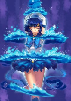 Sailor Mercury by Yan Feng Mu #SailorMercury #Transformation #SailorMoon #Anime #FanArt