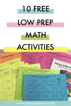 Free low prep math activities- just print and go. Topics include: Solving equations, ratio word problems, fraction operations, combining like terms, slope and exponents Math Resources, Math Activities, Operations With Fractions, Combining Like Terms, Solving Equations, 7th Grade Math, Free Math, Elementary Math, Word Problems