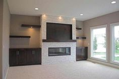 Modern Fireplace Designs With Glass For The Contemporary Home Fireplace Built Ins, Home Fireplace, Fireplace Remodel, Modern Fireplace, Living Room With Fireplace, New Living Room, Fireplace Design, Small Living, Fireplace Ideas