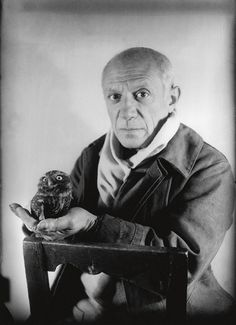 (Top) Picasso with his pet owl, 1949.  (Bottom) Picasso with one of many works of art inspired by his pet owl, 1953.