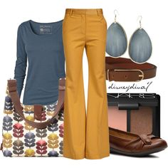 Looking at other people's Polyvore creations. #newyearstylechallenge The creator pulled in the colors of the handbag to make her set. This bluish gray and gold would not normally be a color choice, but it obviously works.