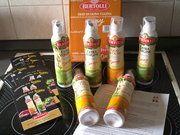 Die Bertolli Olivenöl-Sprays in Aktion.