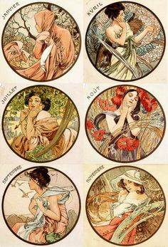 Art nouveau calendar prints ...