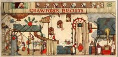 A fantastic piece of Heath Robinson advertising. This piece shows the artist's interpretation of the interior of the Crawford's Biscuit Factory.
