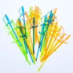 Celebrate In Style.  36 Pack Sword Picks are perfect for any gathering big or small.  Keep disposable picks on hand to make your party table colorful and sanitary. Pirate sword picks are perfect for parties, picnics, and family meals!  36 sword picks per package.  Swords are 33 long.  Made of plastic.  Stock up on disposable tableware for all of your special occasion needs!  If you want a simple cleanup for your next gathering, use paper or plastic tableware for a fun and casual look.