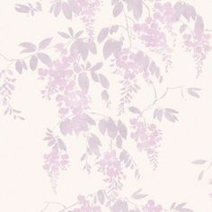 Wisteria Lilac (409404) - Arthouse Wallpapers - A delicate floral design of wisteria blooms, creating a pretty feminine background.  Shown in the lilac pink on white. Please order sample for true colour and texture match.