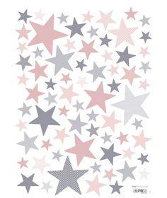 Muurstickers Kinderkamer Stars Pink and Grey Lilipinso