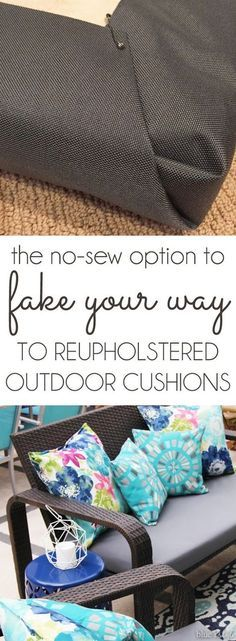 {diy with style} The No-Sew Way to Reupholster Outdoor Cushions When the cost of having my outdoor cushions professionally reupholstered was way out of the budget, I came up with a no-sew solution that cost less th. Reupholster Outdoor Cushions, Cushions On Sofa, Sew Pillows, No Sew Cushions, Outdoor Patio Cushions, Pallet Cushions, Pallet Couch, Dyi Couch, Pallet Benches