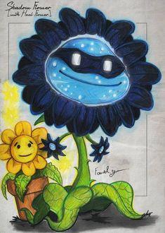 Shadow Flower [with Heal Flower] by Fouad-z on DeviantArt Arte Zombie, Zombie 2, Plants Vs Zombies Drawing, P Vs Z, Zombie Wallpaper, Zombie Birthday Parties, Plant Zombie, Dark Flowers, Sunflower Art