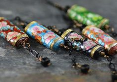 1920s-style Vintage Inspired Chinese Cloisonne Black Crystal Hand-wired Necklace and Earrings Set