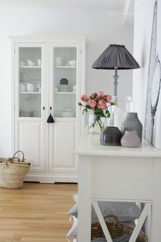 White Painted Cabinet by herz-allerliebst,.home decor Style At Home, Home Living Room, Living Spaces, Bathroom Makeovers On A Budget, Paint Cabinets White, Liatorp, Interior Decorating, Interior Design, Home And Deco