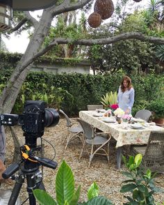 Behind the scenes shooting in the garden of my #Venice beach house today! #KathrynAtHome