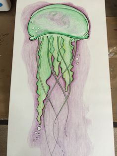 Jellyfish pencil drawing in stages of colored pencil and ink Black And White Lines, Jellyfish, Colored Pencils, Pencil Drawings, Art Nouveau, How To Draw Hands, Original Art, Curtains, Ink