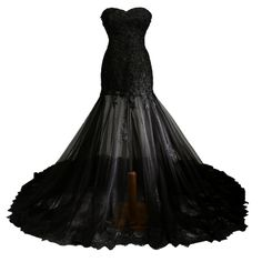 """Carat Long Black Lace Mermaid Strapless Tull Evening Dresses (Custom made). This dress is Made-To-Order. In order to make the most suitable dress, please measure yourself as the """"how to measure"""" Image, use the Size Chart Image on the left and send us the detailed measurements. Customized production cycle of this dress is 7 days, shipping time need 15 days, so when you place an order, please confirm your time. We will contact you to confirm the measurements details. The fast reply will…"""