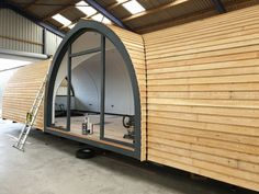 Luxury Glamping Pods For Sale - Buy or lease these and camping pods - Arch Leisure -Camping pods to chalets, toilet shower blocks, modular buildings and glamping Log Cabins Uk, Cabins For Sale, Cabins In The Woods, Wood Cabins, Small House Kits, Tiny House Cabin, Cottage House Plans, Pods For Sale, Quonset Hut Homes