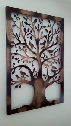 Tree of Life Wall Art Metal Tree Wall Art von shabbyusacreations Tree Design On Wall, House Ceiling Design, Iron Wall Art, Metal Tree Wall Art, Wood Block Crafts, Scrap Wood Projects, Decorative Metal Screen, Grill Door Design, Wall Art Wallpaper