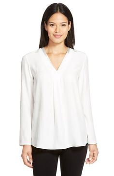 Lafayette 148 New York 'Libby' V-Neck Silk Blouse available at #Nordstrom