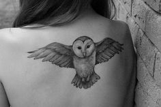 Snow Owl Back Tattoo. Add a hog warts letter in the owls claws and it is perfect!