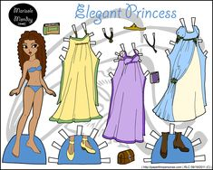 Elegant princess paper doll with three dresses in full color, she can also be found in black and white.