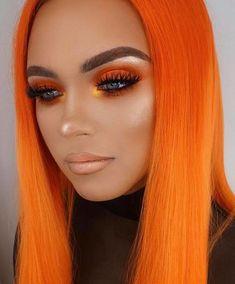 Orange Eyeshadow Looks, Orange Makeup, Orange Lips, Glow Makeup, Beauty Makeup, Beauty Tips, Halloween Eyeshadow, Halloween Makeup Looks, Autumn Makeup