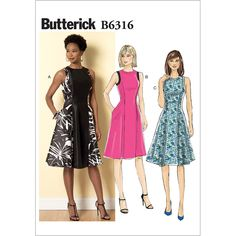Butterick Misses Sleeveless Fit And Flare Dresses: Sleeveless dress has fitted bodice with back pleats, raised waist, side-front and side-back seams,. Vogue Patterns, Dress Patterns, Sewing Patterns, Coat Patterns, Clothes Patterns, Fit N Flare Dress, Corsage, Patron Butterick, Dress Tutorials