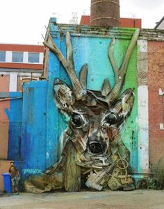 Street artist Bordalo II uses old tires, damaged bumpers, and other scraps of painted found trash to form impressive 3D murals of animals on the streets of Lisbon, Portugal. He's exploring his own mixed media on wood stand base, and are thus made a series of collages of objects (garbage). It is not only a way to recycle, but also a critique of the world we live in, where we often have nice things, which are based on junk without realizing it.