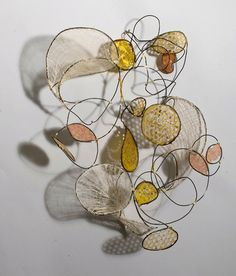 wall mounted wire, papers, fibers, wax, and shellac sculpture (Contemporary Sculpture, Mixed Media, Abstract)