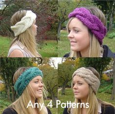 4 KNITTING PATTERNS Quick Knit Headbands PDF Digital Delivery