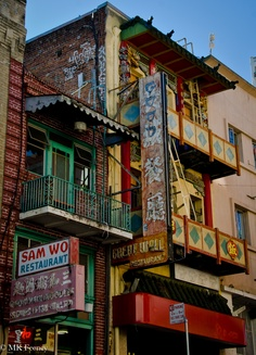 Old buildings and signs.   Chinatown, San Francisco, CA