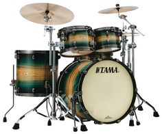 Tama Starclassic Maple Exotix 22BD 5pc Drum Set Emerald Pacific Walnut Burst With Smoked Black Hardware