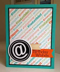 SU! #hello, @SoSocial and Four You (sentiment) stamp sets; colors are Bermuda Bay, Tangelo Twist and Pear Pizzazz - Anna K (Little Bay Stampin')
