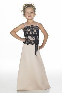 satin cream with black spaghetti straps junior bridesmaid dresses BD870