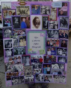 Just a name and LOTS of pictures! Photo Collage Board, Picture Boards, Picture Ideas, Funeral Cards, Graduation Party Planning, Funeral Memorial, Poster Pictures, Photo Memories, 80th Birthday