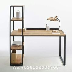 Hiba Steel/Solid Oak Desk with Shelving Unit LA REDOUTE INTERIEURS Industrial style furniture in solid joined oak and metal, providing 2 pieces of furniture in one. The Hiba desk-shelving unit combines contemporary. Solid Oak Bookcase, Solid Oak Desk, Metal Solid, Solid Wood, Industrial Style Furniture, Vintage Furniture, Furniture Design, Industrial Living, Industrial Farmhouse