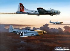 Last One Home by Ivan Berryman. A pair of P51D Mustangs of the 361st Fighter Group, 8th Air Force, escort a damaged B17G Flying Fortress of the 381st Bomb Group back to its home base of Ridgewell, England, during the Autumn of 1944.
