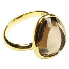 cressida ring gold and smoky quartz by flora bee | notonthehighstreet.com