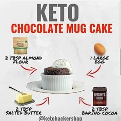 Keto chocolate mug cake. Keto dessert and sweets. Keto tips and tricks. Keto Chocolate Mug Cake, Keto Mug Cake, Chocolate Mug Cakes, Mug Cake Healthy, Chocolate Chocolate, Lchf, Banting, Low Carb Paleo, Cetogenic Diet